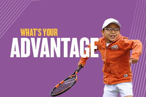 Image of a boy with a tennis racket and text displaying what is your advantage