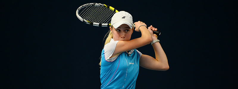 Junior competition - girl plays a backhand