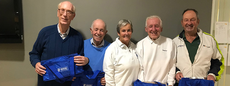 Harpenden TC Winners Men 75 with Jackie Robinson, Chair of Inter County Championships