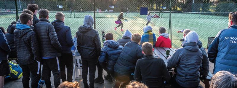 Kilgraston tennis event, spectator viewing.