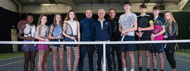 Tennis Scotland Academy with Jose Higueras (centre), Leo Azavedo (centre left), Blane Dodds (centre right) with Academy players.