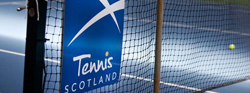 Tennis Scotland logo featuring on court at Edinburgh indoor tennis centre