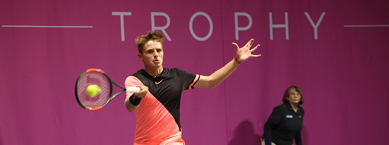 A photo of a male player on court at the Glasgow Trophy Tennis Tournament