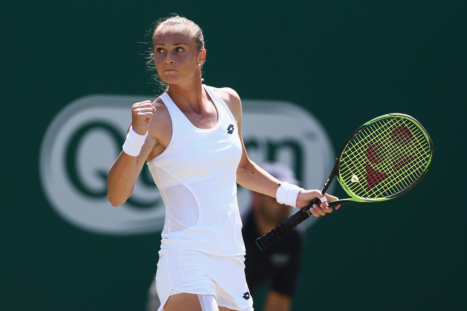 Magdalena Rybarikova of Slovakia celebrates a point during her singles Final match against Magdalena Rybarikova of Slovakia