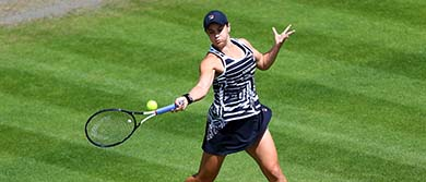 Ash Barty plays a forehand against Jennifer Brady during day four of the Nature Valley Classic.