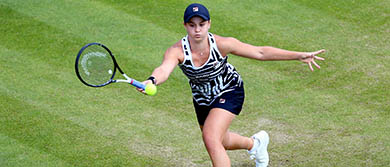 Ash Barty plays a forehand during her semi-final match against Barbora Strycova on day six of the Nature Valley Classic.