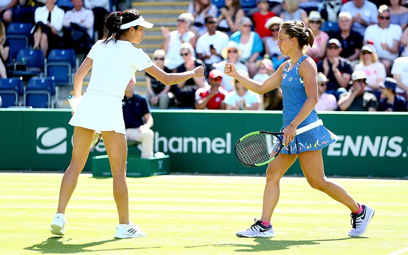 Barbora Strycova and Su-Wei Hsieh celebrate during their doubles semi-final match