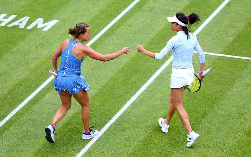 Barbora Strycova and Hsieh Su-wei fist bump