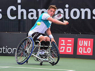 Alfie Hewett competing in the British Open Wheelchair Tennis Championships