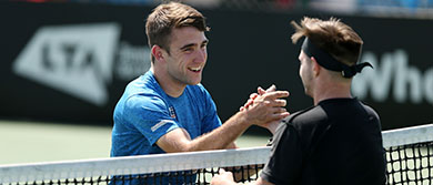 James Shaw and Marcus Laudan handshake during day one of the British Open Wheelchair Tennis Championships