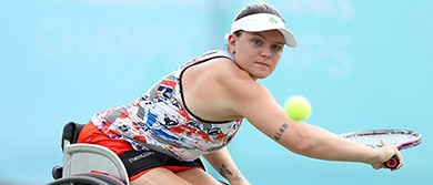 Jordanne Whiley hits a backhand at the British Open Wheelchair Championships