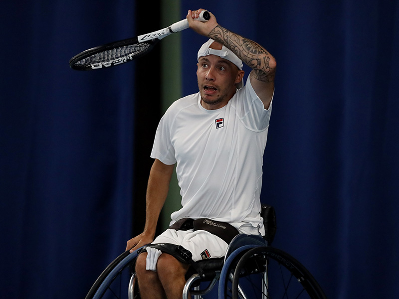 Andy Lapthorne plays a forehand during his final against Niels Vink