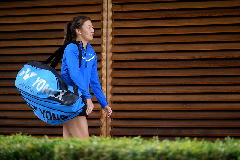Yuriko Miyazaki heads out on court to play her first match