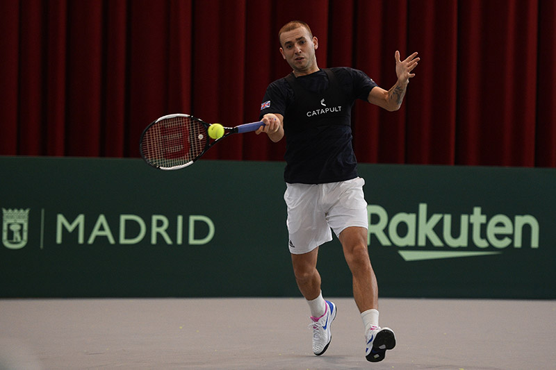 Dan Evans hits the practice courts
