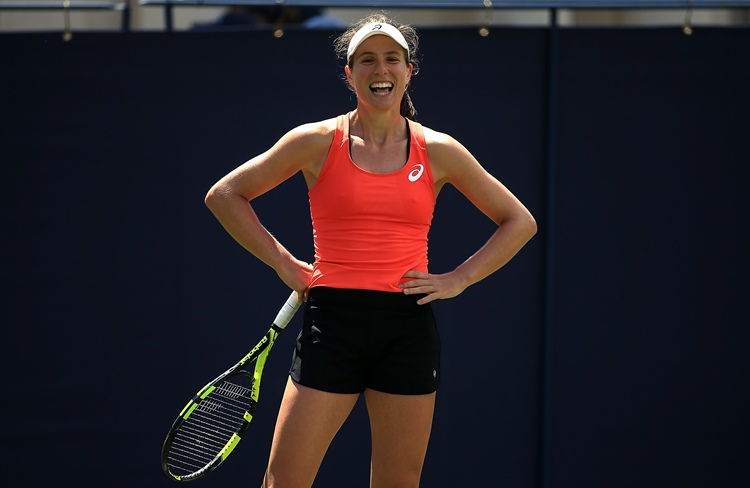 All smiles from Johanna Konta in practise at the Nature Valley International