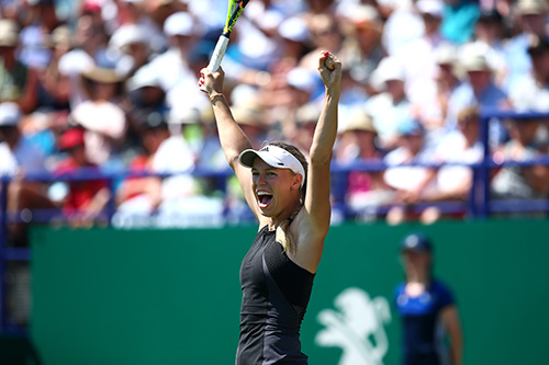 Caroline Wozniacki celebrates defeating Aryna Sabalenka in the Nature Valley International Final