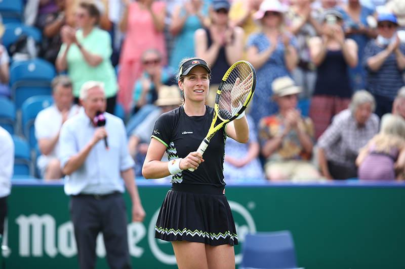 Johanna Konta celebrates second round win