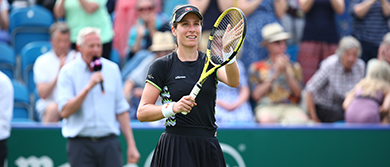 Johanna Konta celebrates second round win at the Nature Valley International