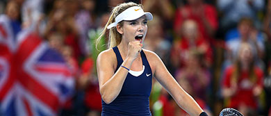 Katie Boulter celebrates her Fed Cup win representing Great Britain