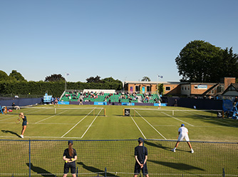 Courtside at the Surbiton Trophy.