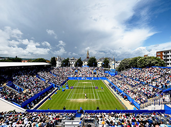 Courtside at the Eastbourne International.