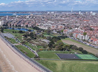 Aerial shot of the Southsea Trophy tennis courts.