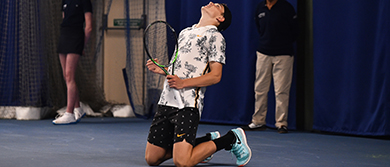 Jack Draper celebrates his first ATP Challenger victory