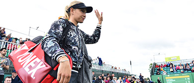 Donna Vekic walks out onto Centre Court on day five at the Nature Valley Open