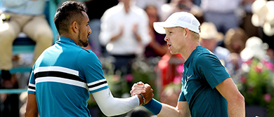 Nick Kyrgios and Kyle Edmund at the Queen's Club