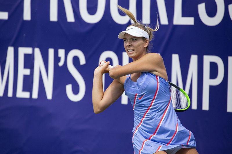 Katie Boulter in action during her semi-final match