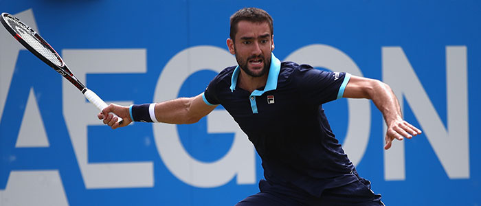 Marin Cilic plays a forehand