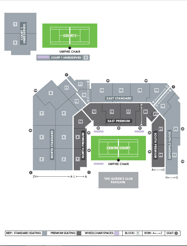 Seating plan for Queen's Club Championship