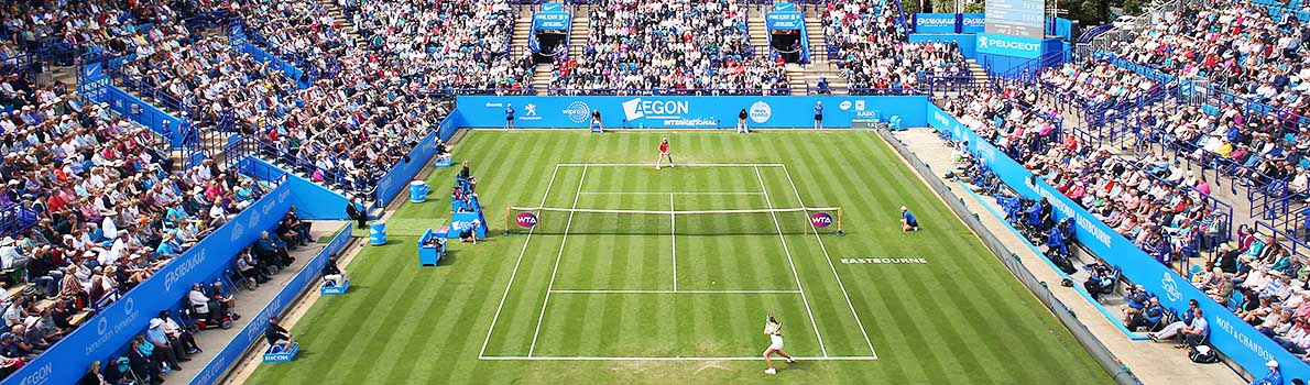 Johanna Konta plays against Jelena Ostapenko at the Aegon International Eastbourne 2017