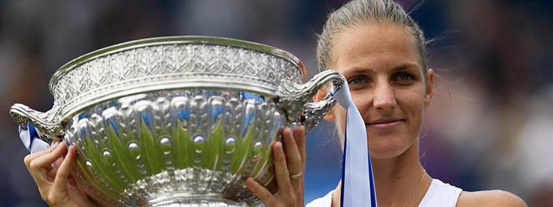Karolina Pliskova of Czech Republic in action during her women's singles finals match against Caroline Wozniacki