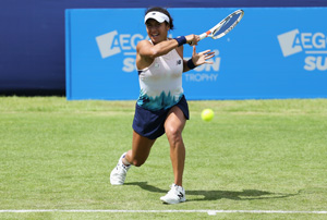 Heather Watson in action during the Aegon Surbiton Trophy final.