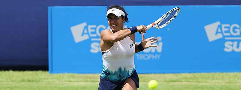 Heather Watson plays a forehand