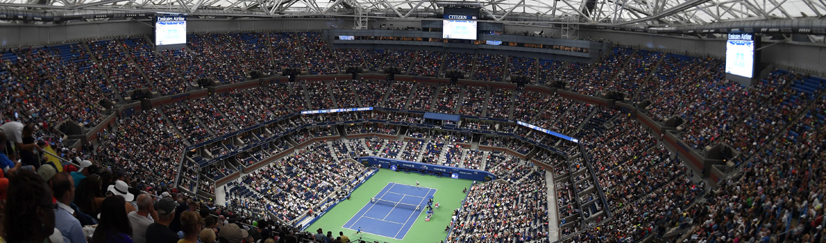 The closed roof at the Arthur Ashe Stadium at Flushing Meadows in New York