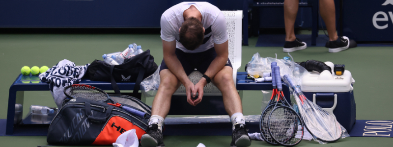 Andy Murray in the first round of the 2020 US Open