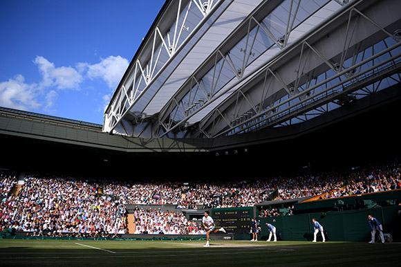 2019 Wimbledon Championships - Novak Djokovic in action on Centre Court