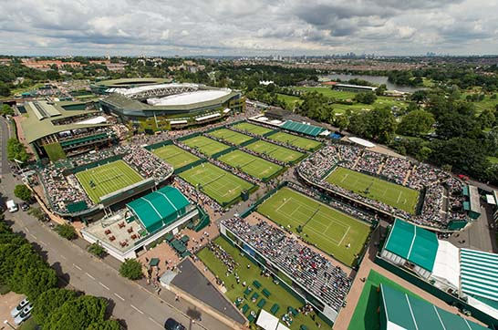 An aerial view of The All England Lawn Tennis Club during The Championships