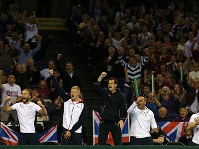 Davis Cup team celebratre