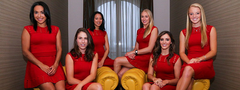 The Aegon GB Fed Cup Team at the pre-dinner of the World Group II play-off against Romania