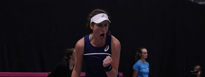 Johanna Konta at the Euro/Africa Zone Group 1 Fed Cup tie in Tallinn, Estonia