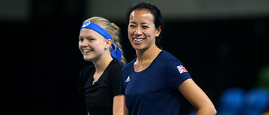 Harriet Dart and Anne Keothavong at the Copper Box Arena