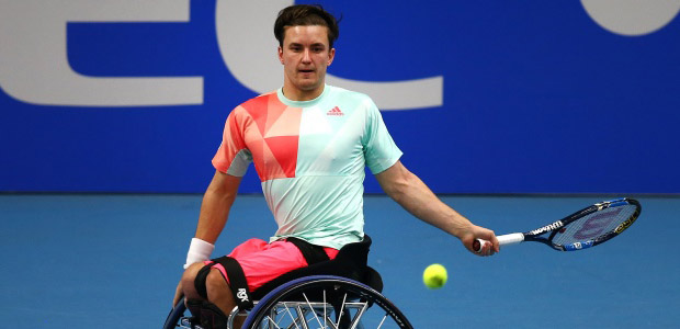 Gordon Reid hits a forehand on finals day at the NEC Wheelchair Masters 2016