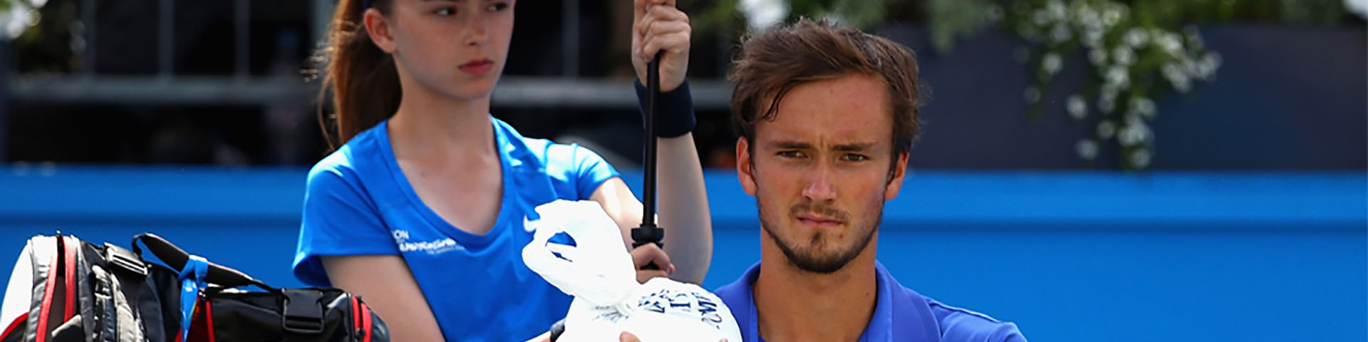 Daniil Medvedev receiving treatment for an injury.