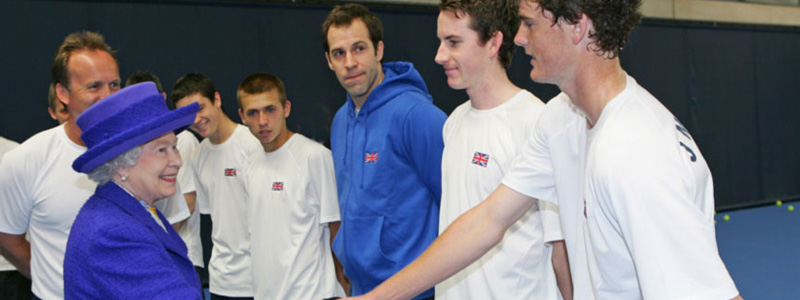 Jamie Murray shakes hands with The Queen at The NTC