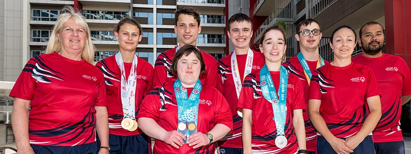 The six tennis players representing GB at the Special Olympics in Abu Dhabi