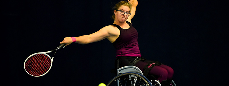 Abbie Breakwell in action at the National Tennis Centre