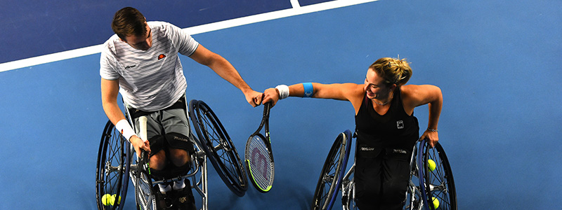 Dermot Bailey and Lucy Shuker at the National Tennis Centre